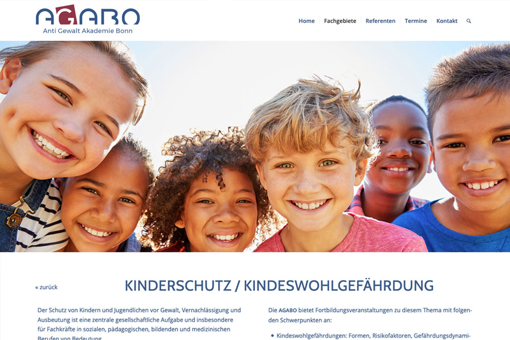 Website AGABO – Kinder lachen