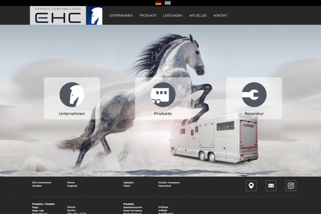 EHC German Coachbuilders Pferdetransporter, Website
